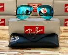 Ray-Ban Aviator Occhiali da sole Polarizzati RB3025 112 / 4L 58mm Cornice oro / Blu Flash !!